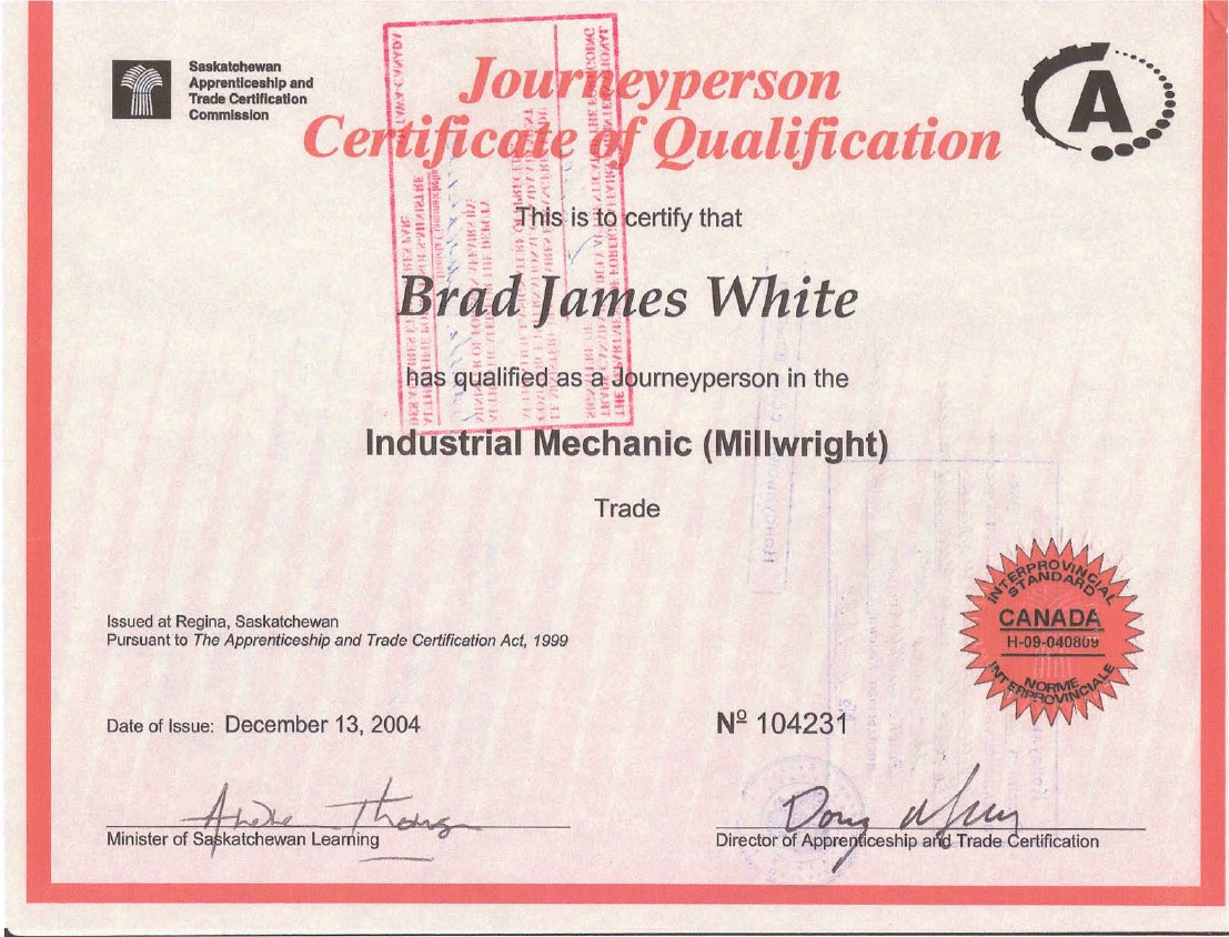 Certificates and downloads brad j white online resume millwright industrial mechanic yelopaper Images
